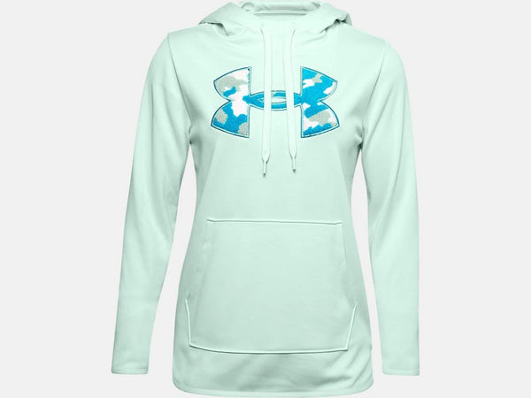 UNDER ARMOUR LADIES CAMO/SHINE SEAGLASS BLUE HOODIE
