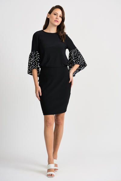 JOSEPH RIBKOFF LADIES BLACK/VANILLA DOT LS TOP