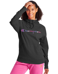 CHAMPION LADIES POWERBLEND CLASSIC WATERCOLOUR BLACK HOODIE