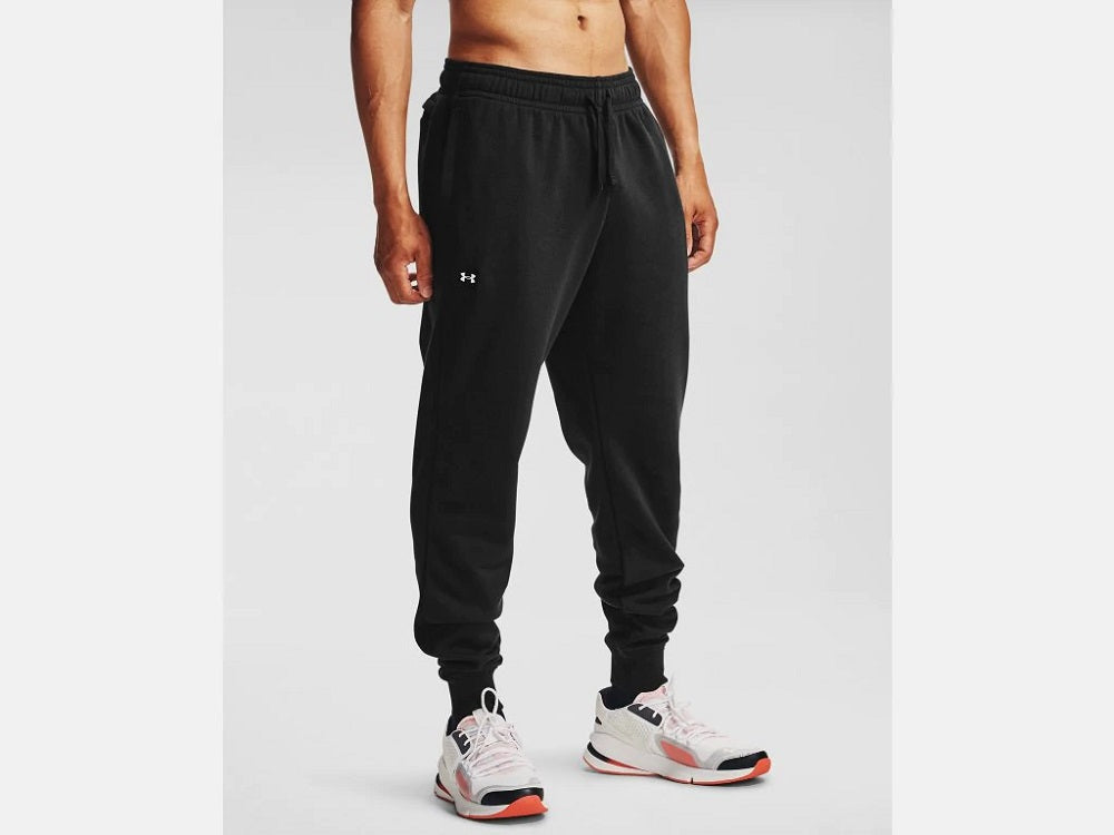 UNDER ARMOUR MENS RIVAL FLEECE BLACK JOGGERS