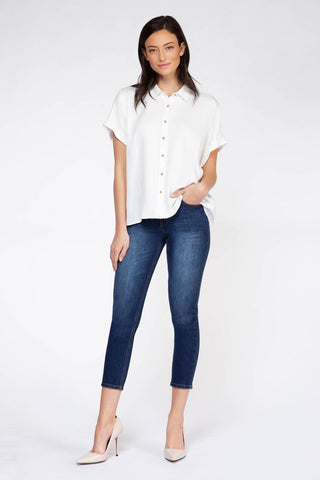 DEX CLOTHING LADIES SS BUTTON DOWN OFF WHITE TOP