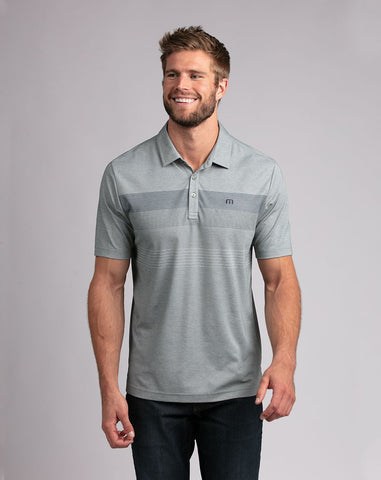 TRAVIS MATHEW MENS TWO MIN DRILL HEATHER BALSAM GOLF SHIRT