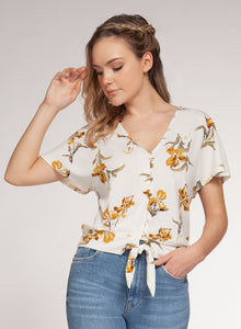 DEX CLOTHING LADIES YELLOW FLOWER SS TOP