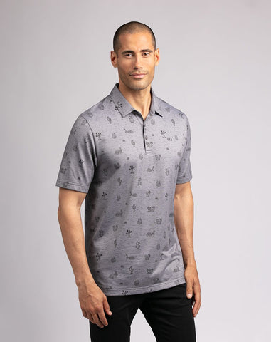 TRAVIS MATHEW MENS ARCHER HEATHER GREY GOLF SHIRT