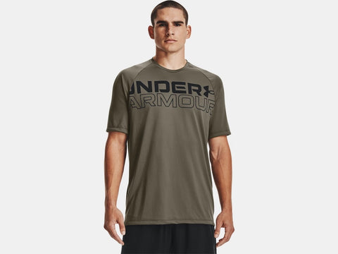 UNDER ARMOUR MENS TECH 2.0 WORDMARK VICTORY GREEN TSHIRT