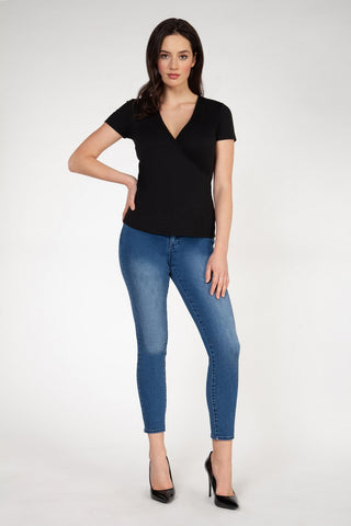 DEX CLOTHING LADIES BLACK WRAP SS TOP