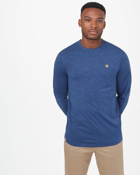 TEN TREE MENS TREEBLEND CLASSIC DARK OCEAN BLUE HEATHER LS TSHIRT