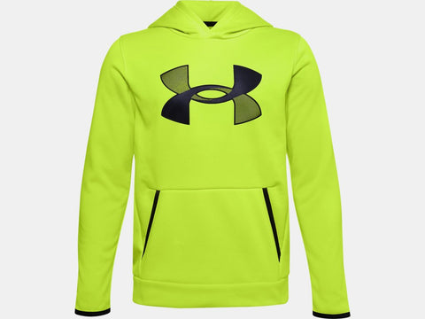 UNDER ARMOUR YOUTH ARMOUR FLEECE GREEN CITRINE HOODIE