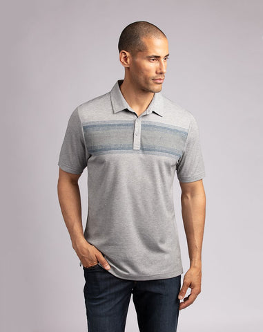 TRAVIS MATHEW MENS TORCHBEARER HEATHER GREY GOLF SHIRT