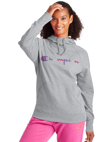 CHAMPION LADIES POWERBLEND CLASSIC WATERCOLOUR OXFORD GREY HOODIE