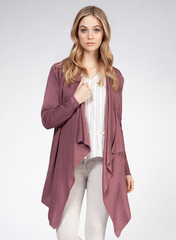 DEX CLOTHING LADIES LS WATERFALL DARK ROSE CARDIGAN