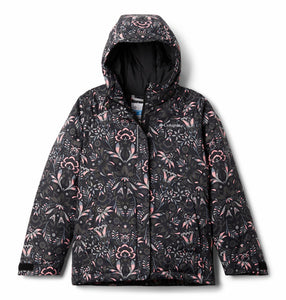 COLUMBIA YOUTH HORIZON RIDE BLACK FLORAL PRINT WINTER JACKET
