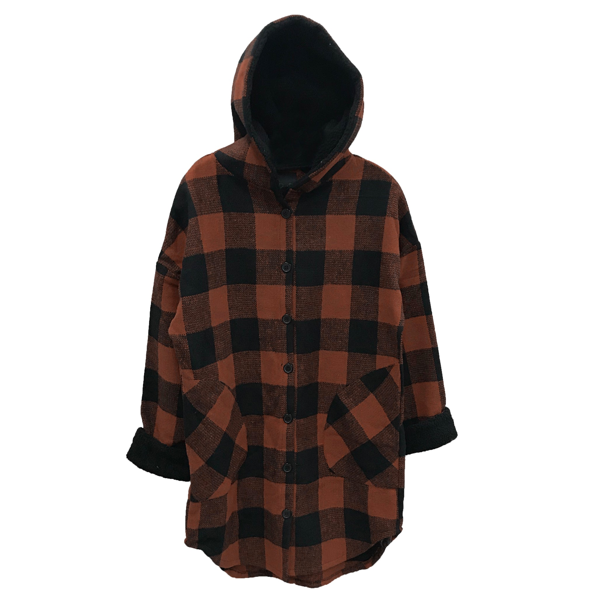 RD INTERNATIONAL LADIES WOVEN COGNAC HOODED JACKET