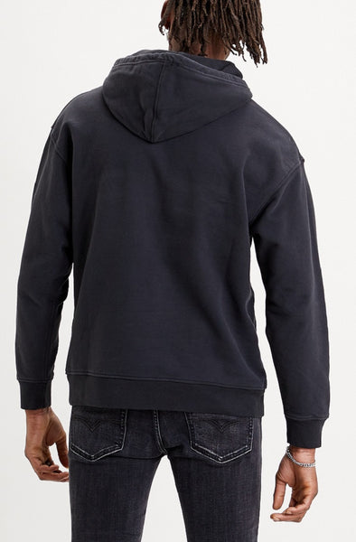 LEVI MENS T2 RELAXED GRAPHIC JET BLACK HOODIE