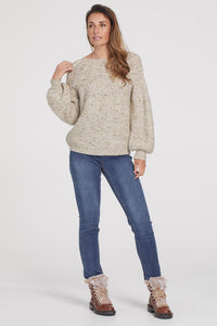TRIBAL LADIES CREWNECK CABLE KNIT BIRCH SWEATER
