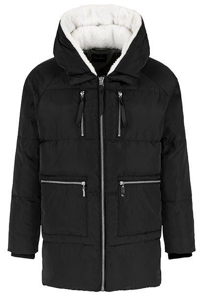 TRIBAL LADIES COCOON PUFFER W/SHERPA HOOD BLACK JACKET