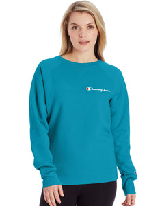 CHAMPION LADIES POWERBLEND BOYFRIEND SCRIPT LOGO ROCKIN TEAL CREWNECK SWEATER