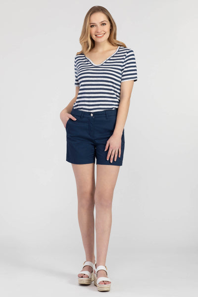 TRIBAL LADIES STRIPED SLUBBED KNIT HENLEY NAVY SEA SS KNIT TOP