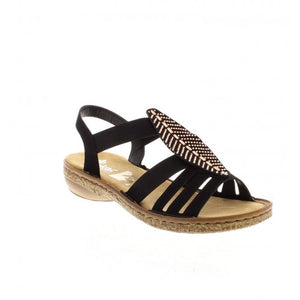 RIEKER LADIES 628G6-00 BLACK SANDAL