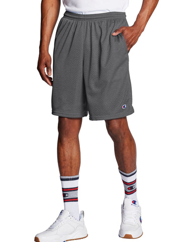 CHAMPION MENS 9-INCH CLASSIC MESH GRANITE HEATHER SHORT