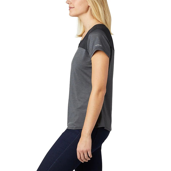 COLUMBIA LADIES PLACE TO PLACE II BLACK HEATHER TSHIRT