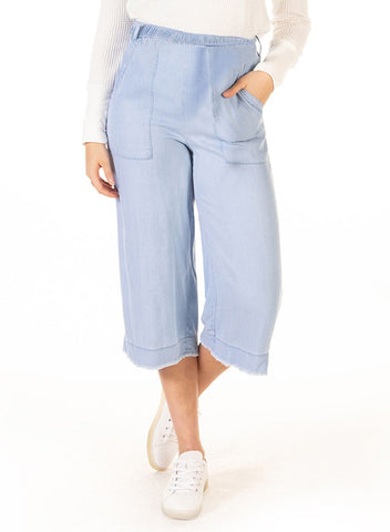 DEX CLOTHING LADIES FRAYED HEM WIDE LEG BELTED BLEACHED WASHED PANT