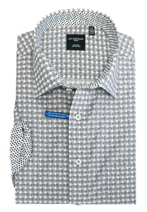 LEO CHEVALIER MENS 100% COTTON NON IRON NAVY PRINT SPORT SHIRT
