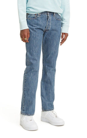 LEVI MENS 501 ORIGINAL STRAIGHT LEG MEDIUM STONEWASH JEANS