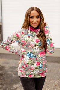 AMPERSAND AVE LADIES DOUBLEHOOD FLORAL FRENZY HOODIE