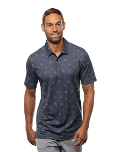 TRAVIS MATHEW MENS DRESS TO IMPRESS MOOD INDIGO/VINTAGE INDIGO GOLF SHIRT