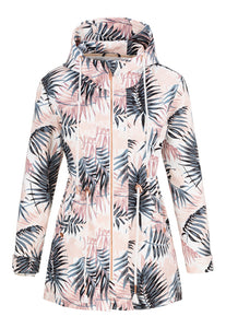 TRIBAL LADIES WHITE LEAVES WATER REPELLENT JACKET
