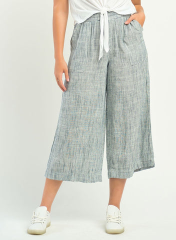 DEX CLOTHING LADIES PULL ON WIDE LEG INDIGO CROSS HATCH STRIPED PANT