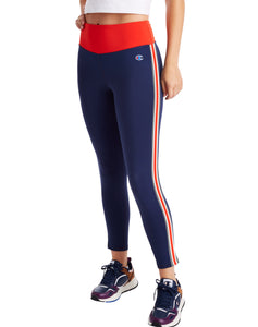 CHAMPION LADIES SPORT HIGH RISE ATHLETIC NAVY/ RED FLAME LEGGING