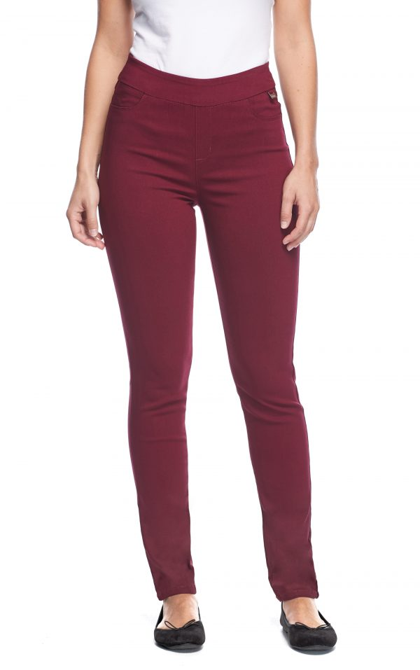 FDJ LADIES PULL ON SLIM LEG CABERNET JEAN