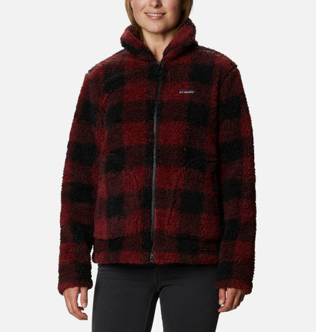 COLUMBIA LADIES WINTER PASS SHERPA FULL ZIP MARSALA RED BUFFALO CHECK JACKET