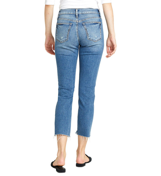 SILV ER JEANS LADIES AVERY HIGH RISE SLIM INDIGO CROP