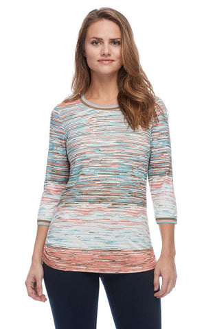 FDJ LADIES HORIZON STRIPE CANTALOUPE MULTI TOP