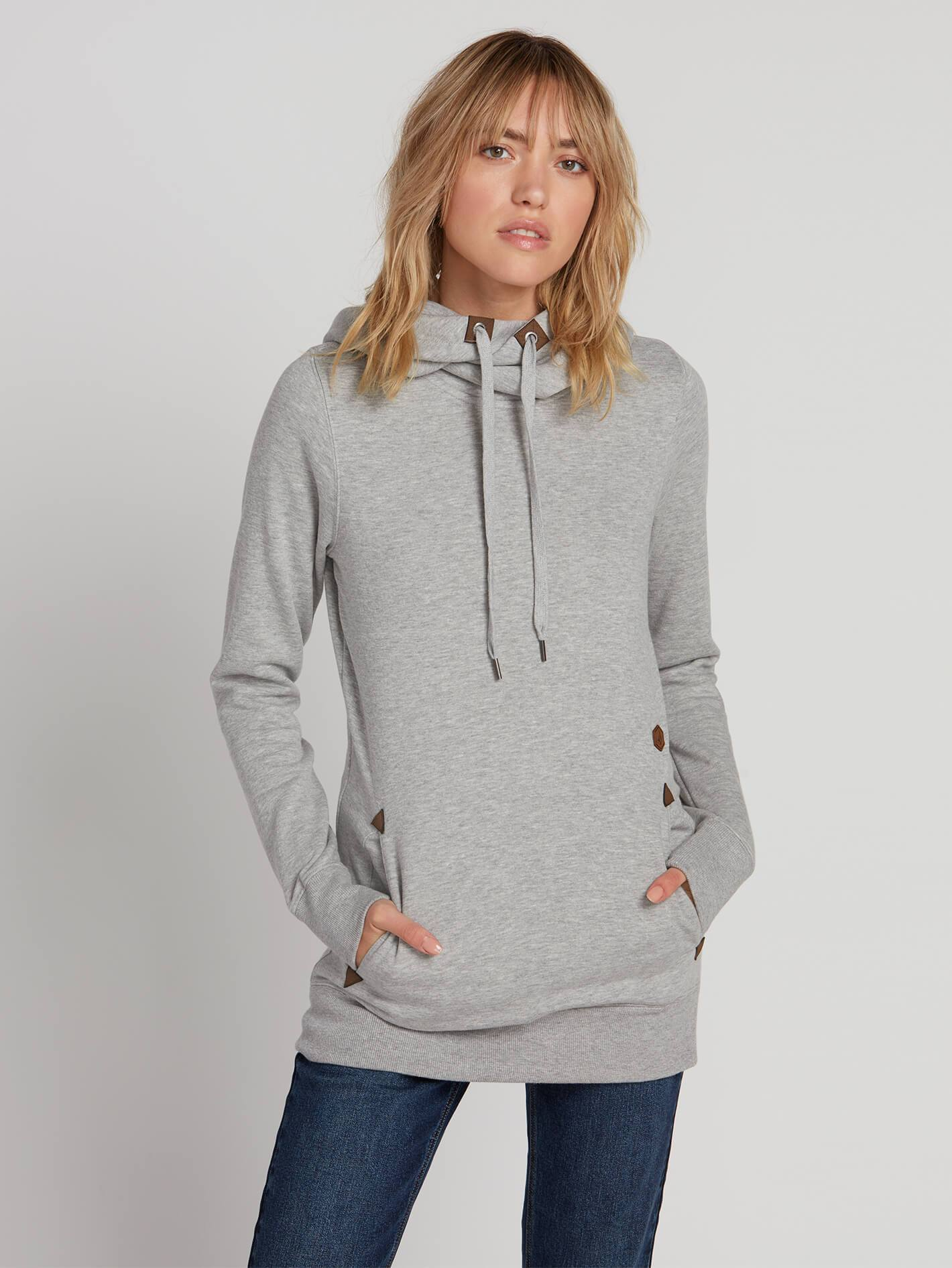 VOLCOM LADIES TOWER PULLOVER FLEECE HEATHER GREY HOODIE