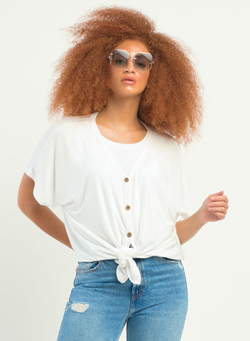 DEX CLOTHING LADIES SS BUTTON FRONT KNIT WHITE TOP