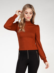 DEX CLOTHING LADIES LS MOCK NECK BURNT ORANGE TOP