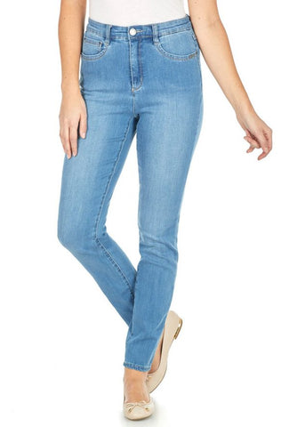 FDJ LADIES PETITE SUZANNE SLIM LEG CHAMBRAY JEAN