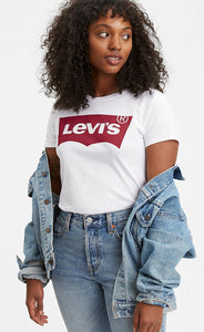 LEVI LADIES LARGE BATWING WHITE GRAPHIC PERFECT TSHIRT
