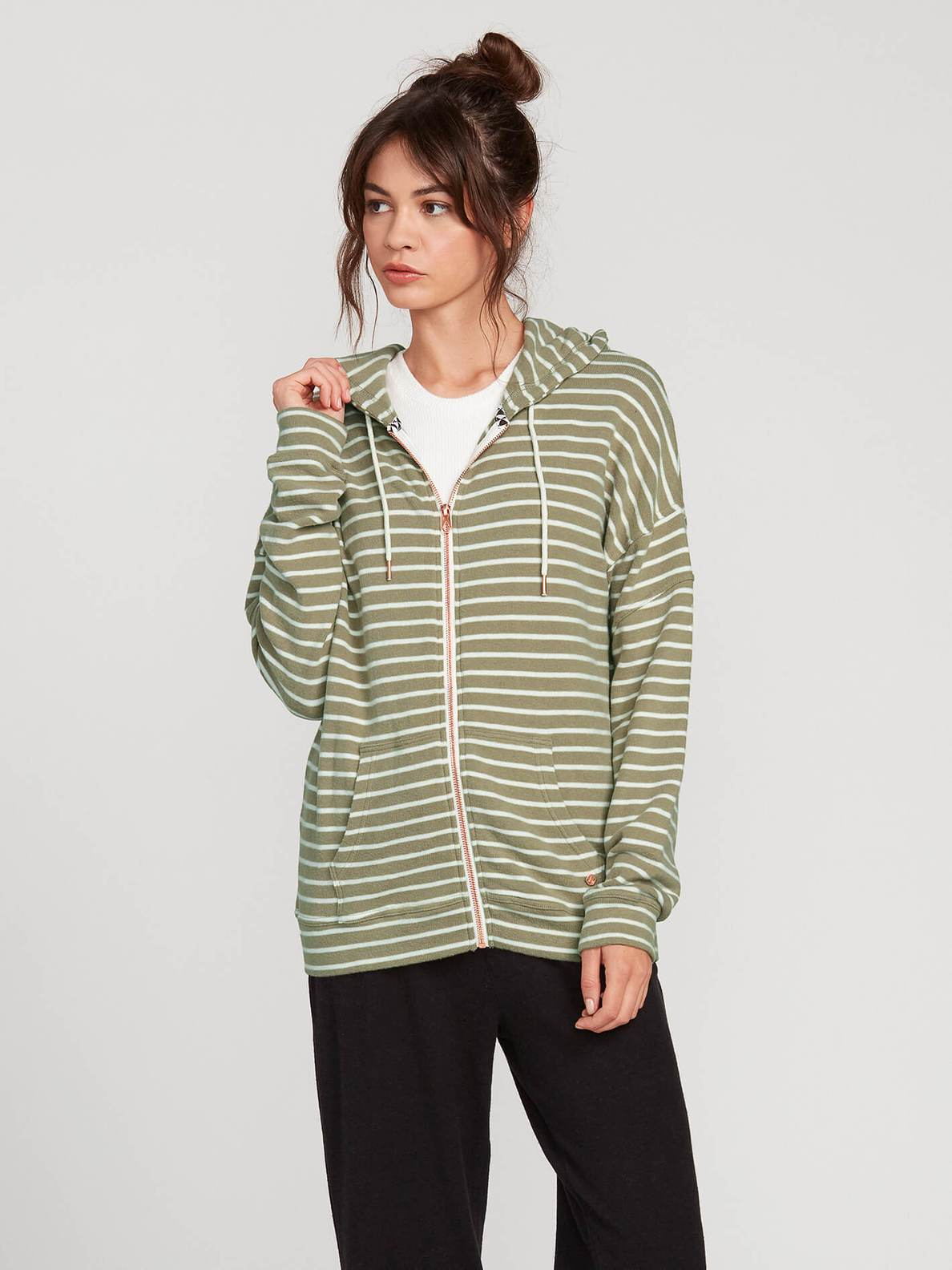 VOLCOM LADIES LIVED IN LOUNGE DUSTY GREEN HOODIE