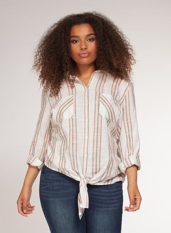DEX CLOTHING LADIES BUTTON DOWN TIE FRONT PINK/KHAKI STRIPE TOP