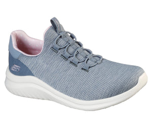 SKECHERS LADIES ULTRA FLEX 2.0 DELIGHT GREY/PINK RUNNING SHOE
