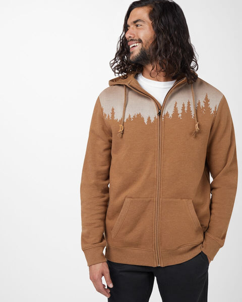 TEN TREE MENS JUNIPER ZIP RUBBER BROWN HEATHER HOODIE