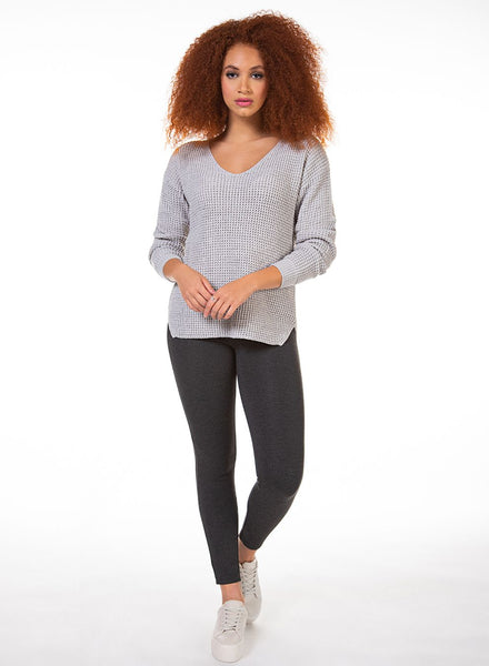 DEX CLOTHING LADIES V-NECK BEVELLED HEM BONE SWEATER