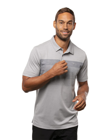 TRAVIS MATHEW MENS CLINK AND DRINK HEATHER SLEET GOLF SHIRT