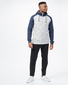 TEN TREE MENS OBERON ZIP HI RISE GREY/DRESS BLUE HOODIE