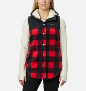 COLUMBIA LADIES BENTON SPRINGS OVERLAY MOUNTAIN RED BUFFALO CHECK VEST